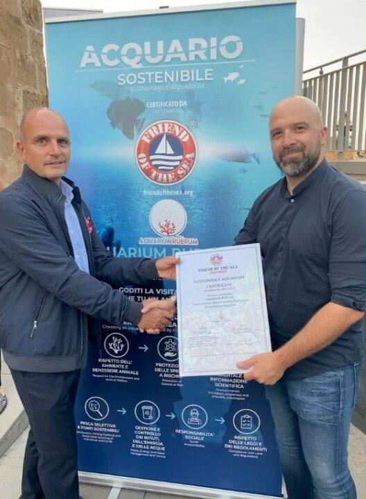 Aquarium Rubrum di Alghero primo in Italia certificato Friend of the Sea per l'impegno nella conservazione dell'ambiente marino.